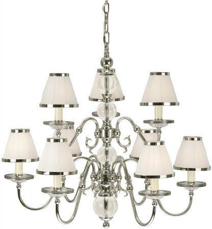 Tilburg Nickel 9 Light Large Chandelier With White Shades