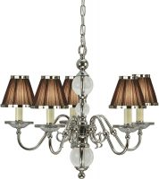 Tilburg Nickel 5 Light Chandelier With Chocolate Faux Silk Shades