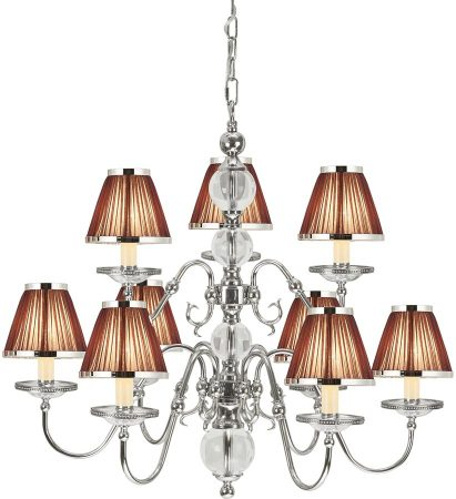 Tilburg Nickel 9 Light Large Chandelier With Chocolate Shades