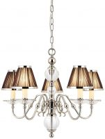 Tilburg Nickel 5 Light Chandelier With Black Faux Silk Shades