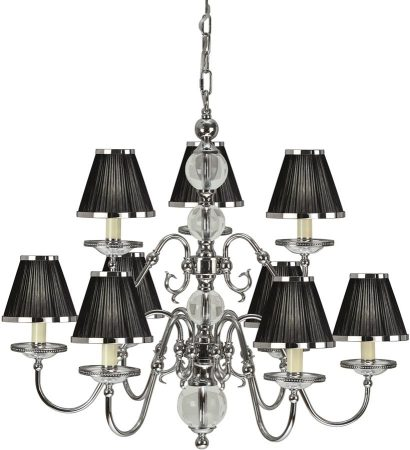 Tilburg Nickel 9 Light Large Chandelier With Black Shades
