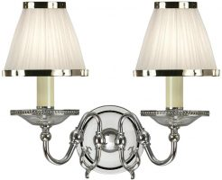 Tilburg Nickel Double Wall Light With White Faux Silk Shades