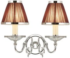 Tilburg Nickel Double Wall Light With Chocolate Faux Silk Shades