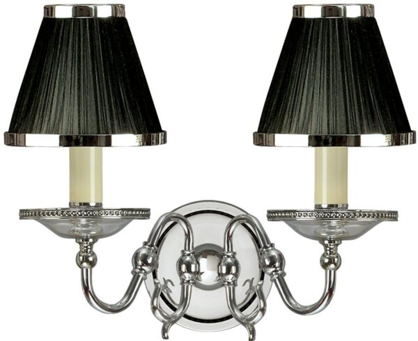 Tilburg Nickel Double Wall Light With Black Faux Silk Shades