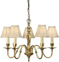 Asquith Victorian Brass 5 Light Chandelier With Beige Shades
