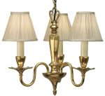 Asquith Victorian Brass 3 Light Chandelier With Beige Shades
