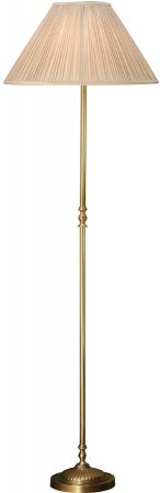 Fitzroy Georgian Style Solid Brass Floor Lamp With Beige Shade