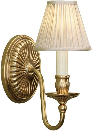 Fitzroy Georgian Style Solid Brass Wall Light With Beige Shade