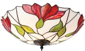 Botanica Large Floral Flush 2 Lamp Tiffany Ceiling Light