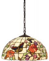 Butterfly Tiffany Ceiling Pendant Medium Floral