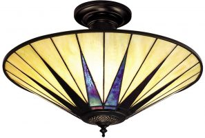 Dark Star Tiffany Semi Flush Ceiling Light Art Deco Design
