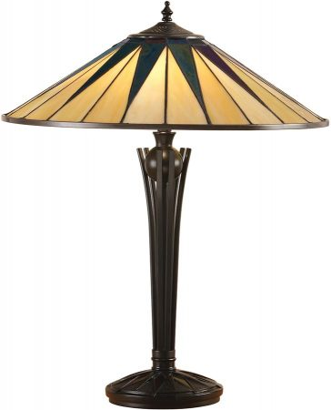 Large Dark Star Tiffany Table Lamp Art Deco Design