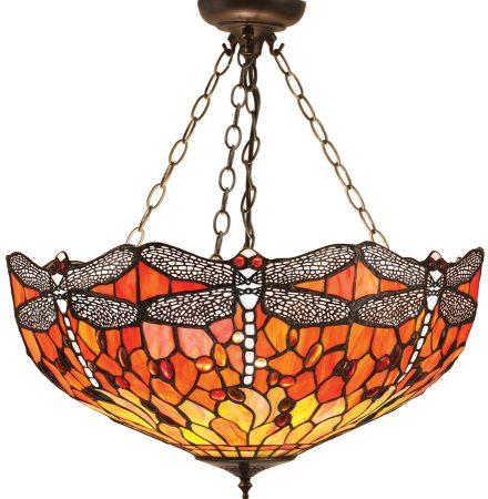 Flame Dragonfly Medium 3 Lamp Tiffany Pendant Uplighter