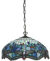 Blue Dragonfly Medium 3 Lamp 41cm Tiffany Pendant Light