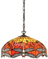 Flame Dragonfly Medium 3 Lamp Tiffany Pendant Light