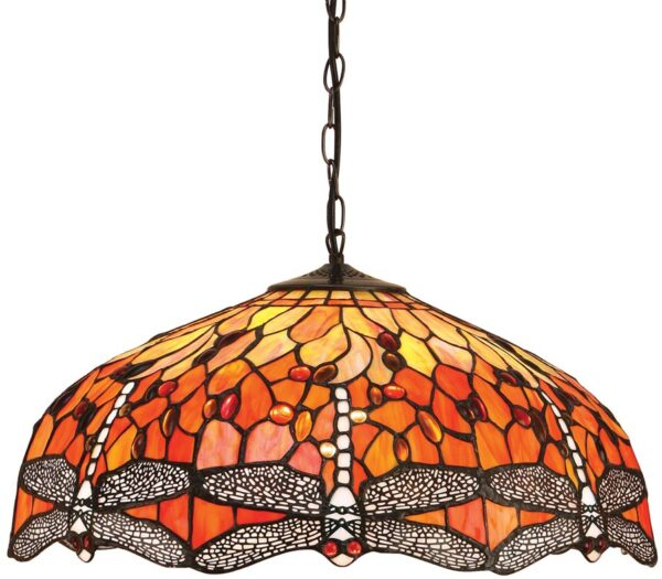 Flame Dragonfly Large 3 Lamp Tiffany Pendant Light