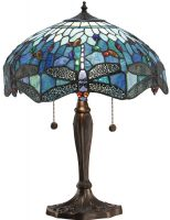 Blue Dragonfly Medium 2 Light 41cm Tiffany Table Lamp