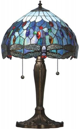 Blue Dragonfly Small 2 Light 30cm Tiffany Table Lamp