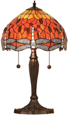 Flame Dragonfly Small 2 Light 30cm Tiffany Table Lamp