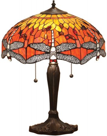 Flame Dragonfly Medium 2 Light 40cm Tiffany Table Lamp