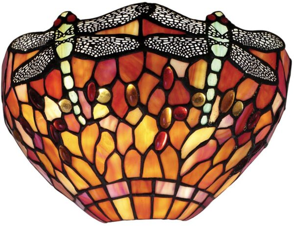 Flame Dragonfly Hand Made Traditional Tiffany Wall Light