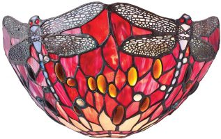 Red Dragonfly Hand Made Traditional Tiffany Wall Light