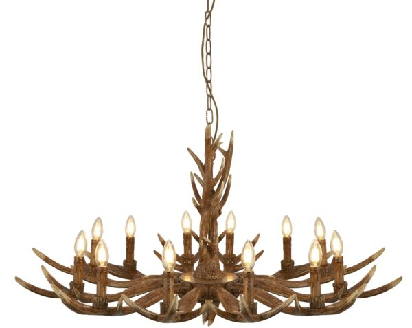 Stag Large 12 Light Weathered Antler Style Rustic Chandelier
