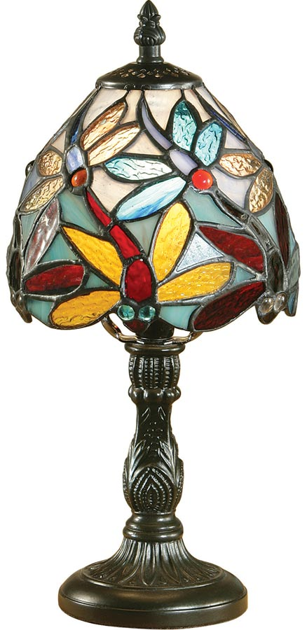 Lorette dragonfly traditional mini tiffany table lamp 64246 lorette dragonfly traditional mini tiffany table lamp aloadofball Images