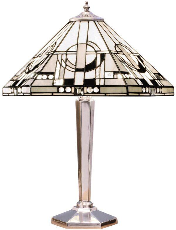Metropolitan Polished Aluminium Base Art Deco Tiffany Table Lamp