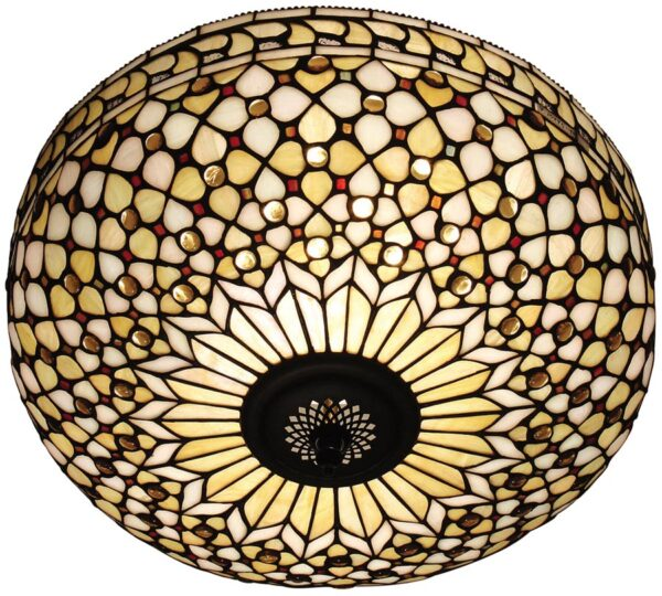 Mille Feux Large Flush Fitting 2 Lamp Tiffany Ceiling Light