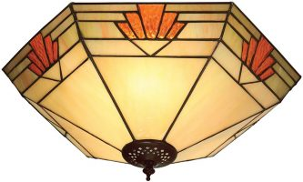 Nevada Art Deco Style Flush 2 Lamp Tiffany Ceiling Light