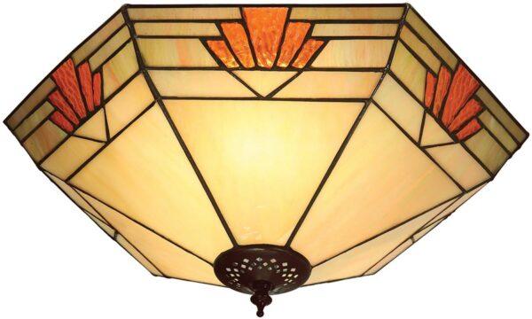 Nevada Art Deco Style Flush 2 Lamp Tiffany Ceiling Light