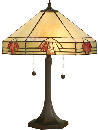 Nevada Large 2 Light Art Deco Tiffany Table Lamp