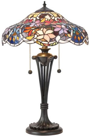 Sullivan Floral Tiffany 2 Light Table Lamp Medium Traditional