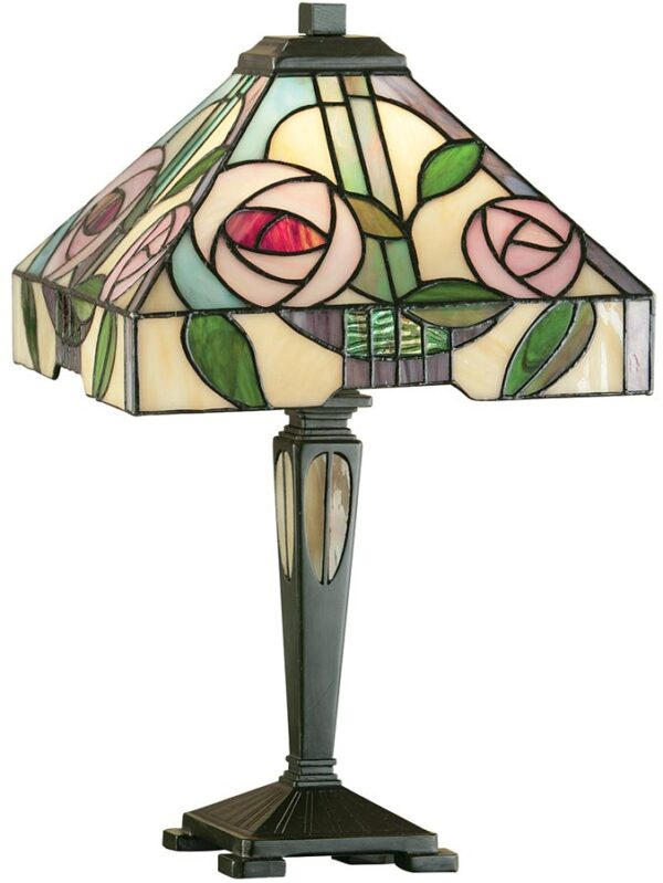 Willow Rose Design 1 Light Tiffany Table Lamp Small