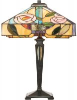 Willow Rose Design 2 Light Tiffany Table Lamp Medium