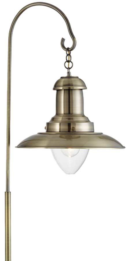 Fisherman Lantern Floor Lamp Antique Brass Clear Bell Glass Shade