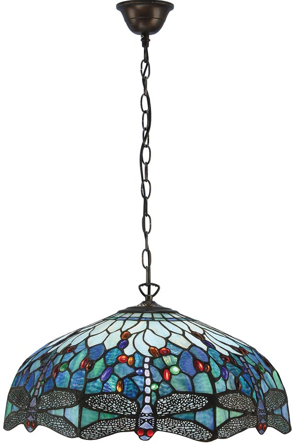 Blue Dragonfly Large 3 Lamp 50cm Tiffany Pendant Light 66148
