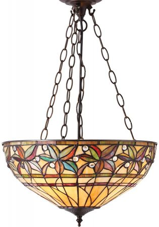 Ashtead Large Art Nouveau Tiffany 3 Light Inverted Pendant