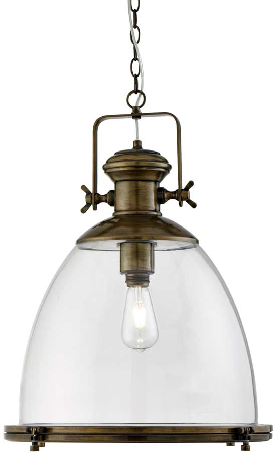 Large Clear Storm Glass Industrial Pendant Antique Brass