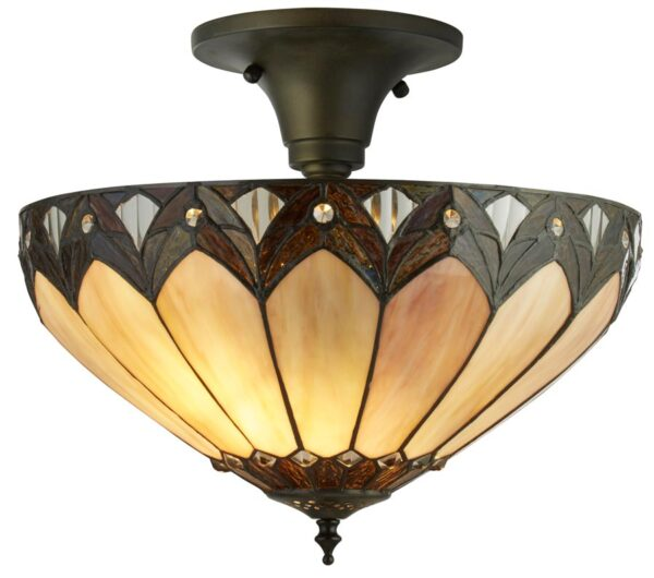 Pearl 3 light semi flush mount Tiffany ceiling light