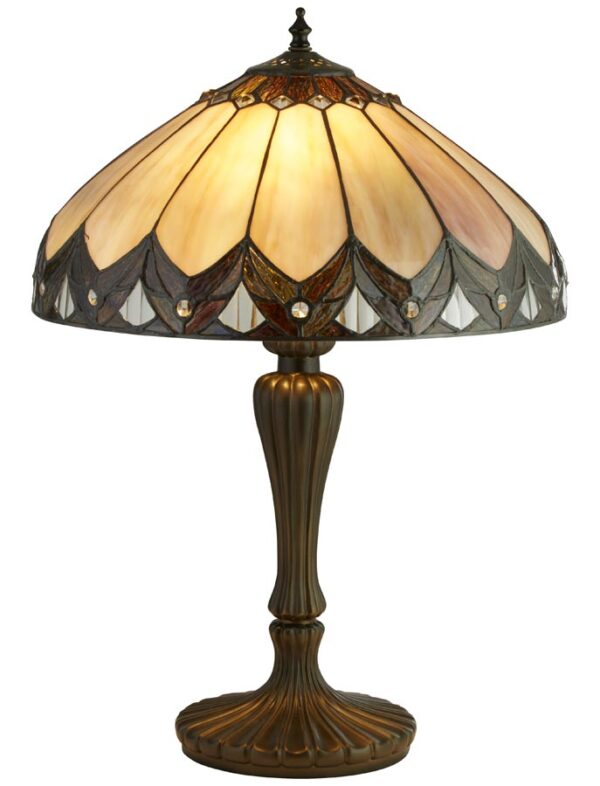 Pearl 2 light Tiffany table lamp ridged resin base