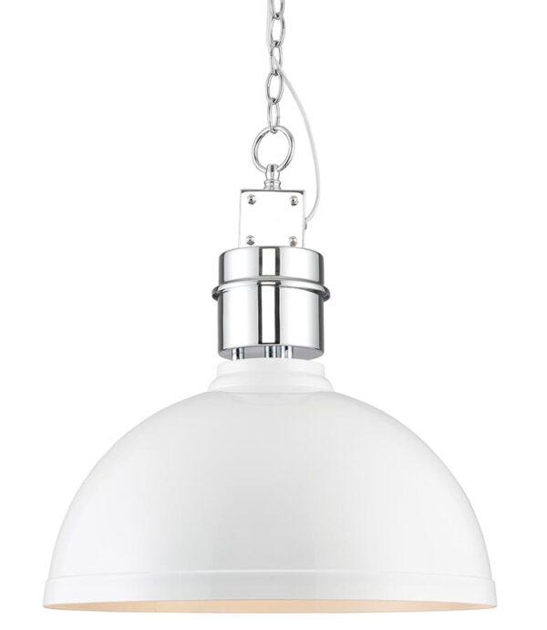 Collingham White 1 Light Pendant Ceiling Light Satin Chrome
