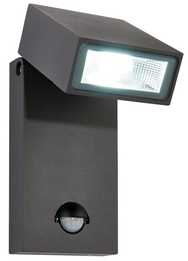 Morti Anthracite Adjstable 10w LED Outdoor PIR Wall Light IP44