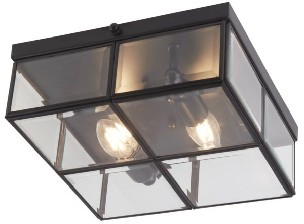 Box Flush Mount 2 Light Ceiling Light Black Bevelled Glass