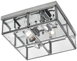 Chrome Box 2 Lamp Flush Ceiling Light
