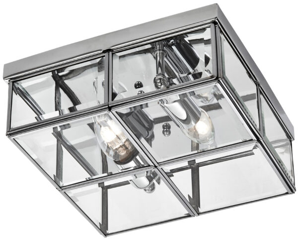 Box flush mount 2 light ceiling light polished chrome