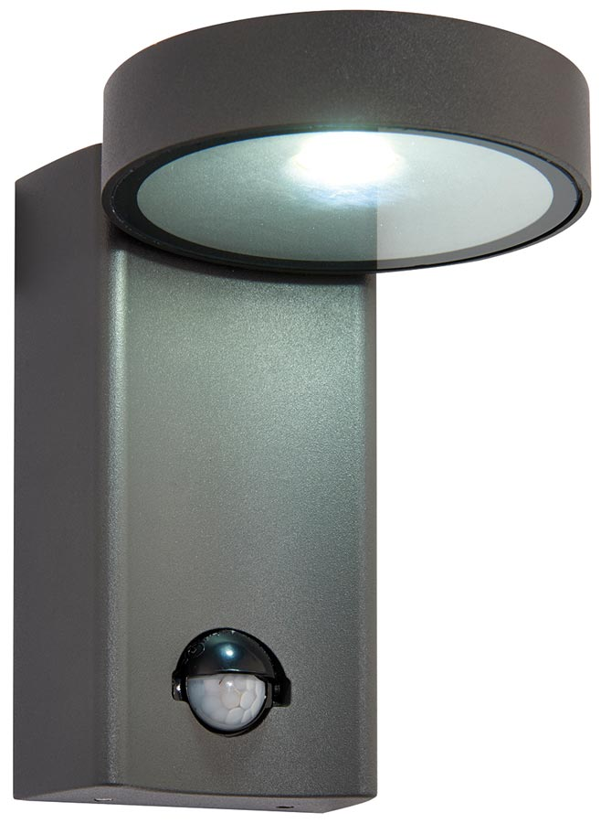 Modern Pir Wall Lights : Oreti Modern Anthracite 10w LED Outdoor PIR Wall Light IP44 Universal Lighting