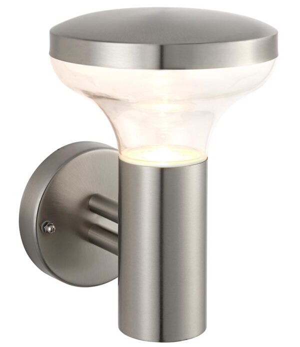 Roko 1 light outdoor wall light in brushed 316 stainless steel IP44