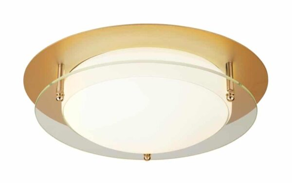 flush mount LED 30cm bathroom ceiling light gold IP44